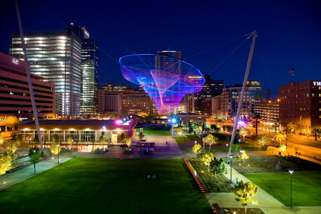 Her Secret is Patience by Janet Echelman, in Civic Space Park, Phoenix, AZ. Photo courtesy of City of Phoenix Office of Arts and Culture. Photo by Craig Smith.